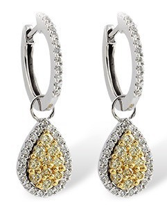 White and Yellow Diamond Drop Earrings