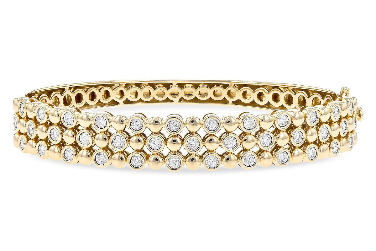 14K Yellow, White or Pink Gold 0.75CT TW Diamond Champagne Bubbles Three Row Bangle Bracelet