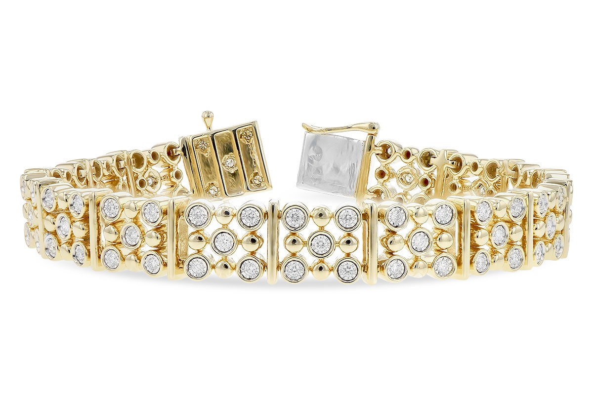 14K Yellow or White 1.00CT TW Diamond Champagne Bubbles Station Tennis Bracelet