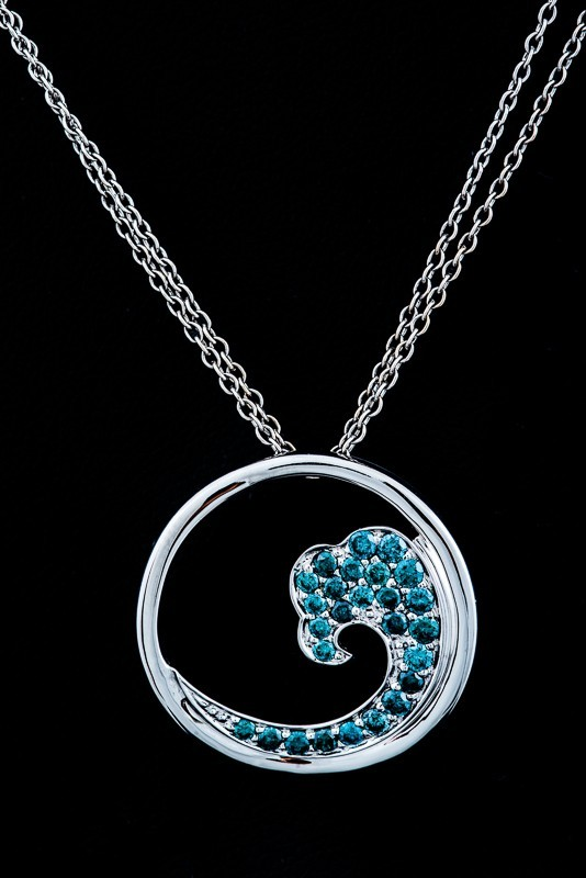 Blue Diamond Ocean Wave Pendant