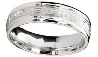 Greek Key Wedding Band