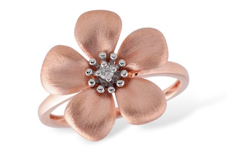 14K White or Pink Gold 0.03CT TW Diamond Flower Ring