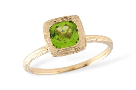 14K Yellow or White Gold 0.93CT Peridot Textured Ring