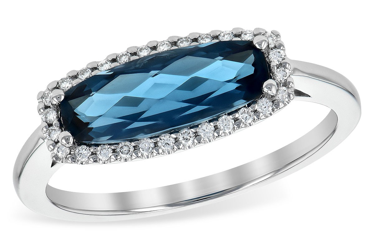 14K White Gold 1.90CT TW London Blue Topaz and Diamond Ring With an Elongated 1.79CT London Blue Topaz Set East to West in Center of Diamonds