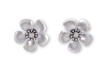 14K Yellow or White Gold 0.03CT TW Diamond Flower Earrings