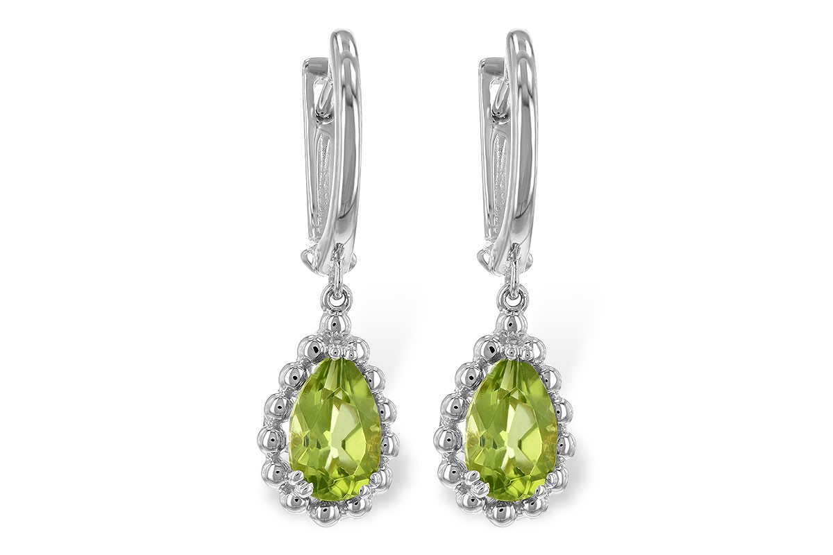 14K Yellow or White 1.65CT TW Peridot Pear Shaped Earrings