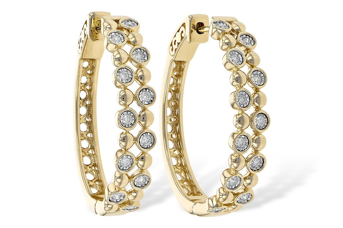 14K Yellow, White or Pink Gold 0.25CT TW Diamond Champagne Bubble Hoop Earrings