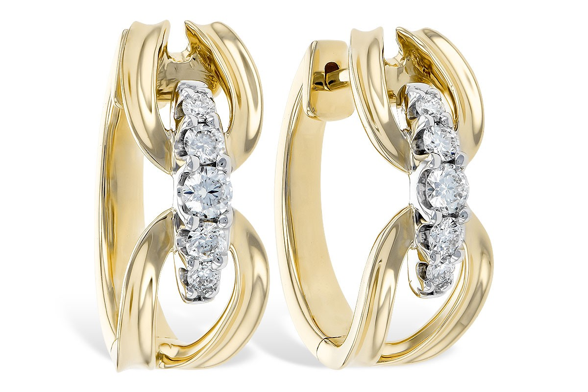 Yellow, White or Pink Gold 0.34CT TW Diamond Earrings