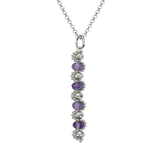 Sterling Silver Amethyst Princess Necklace