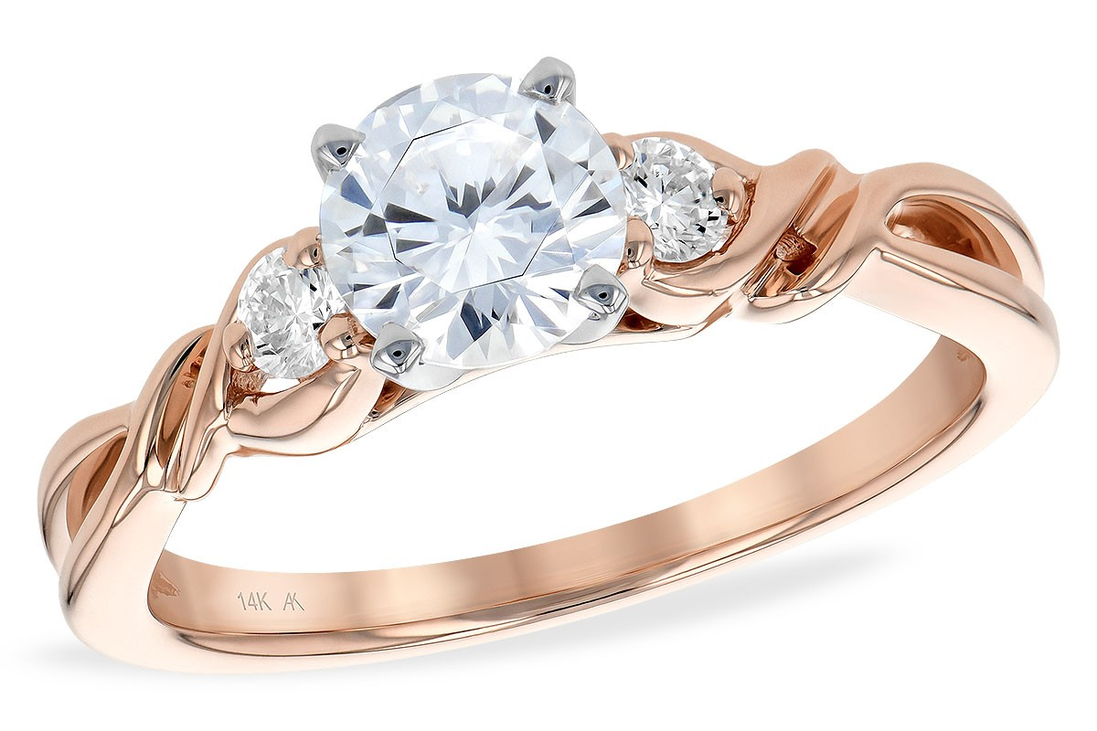 14K Gold Rose, White or Yellow Twisted Engagement Ring with Diamond on Each Side of Center Stone