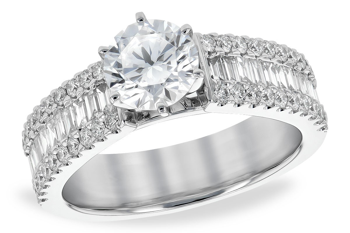 14K White Gold Round and Baguette Diamond Engagement Ring