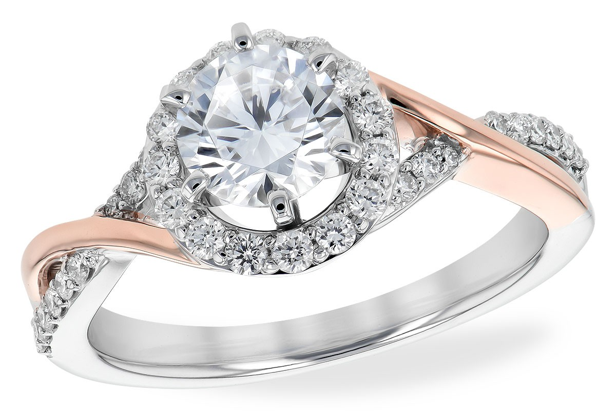 14K Gold Rose and White or Yellow and White Diamond Cross Over Halo Engagement Ring