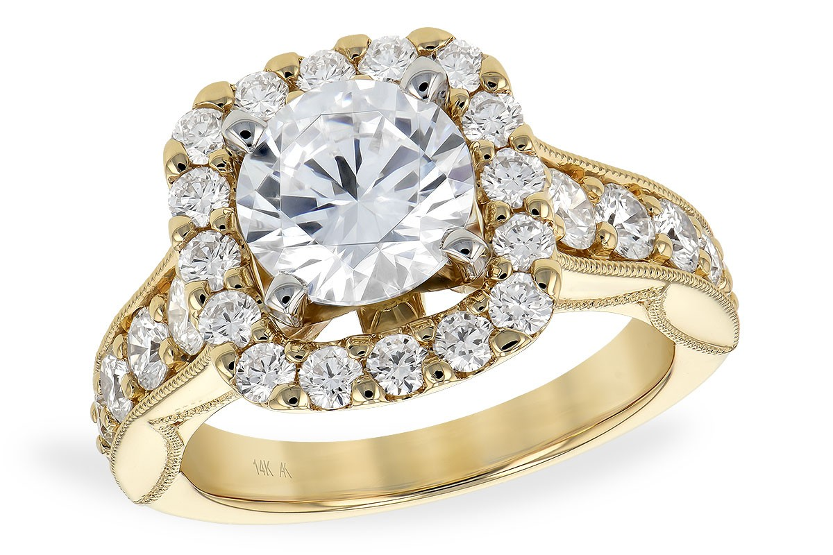 14K Yellow or White Gold Diamond Halo Engagement Ring with Milgrain Design on Band