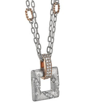 Rose Gold, Silver & Diamond Pendant