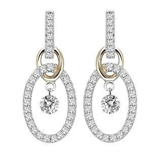 Two Tone Diamond Drop Earrings. .50 ct tw