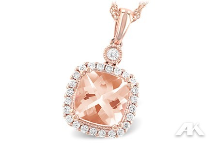 Morganite & Diamond Rose Gold Necklace