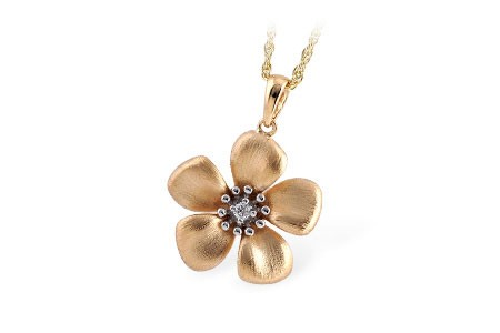 14K Yellow or White Gold 0.03 CT TW Diamond Flower Pendant