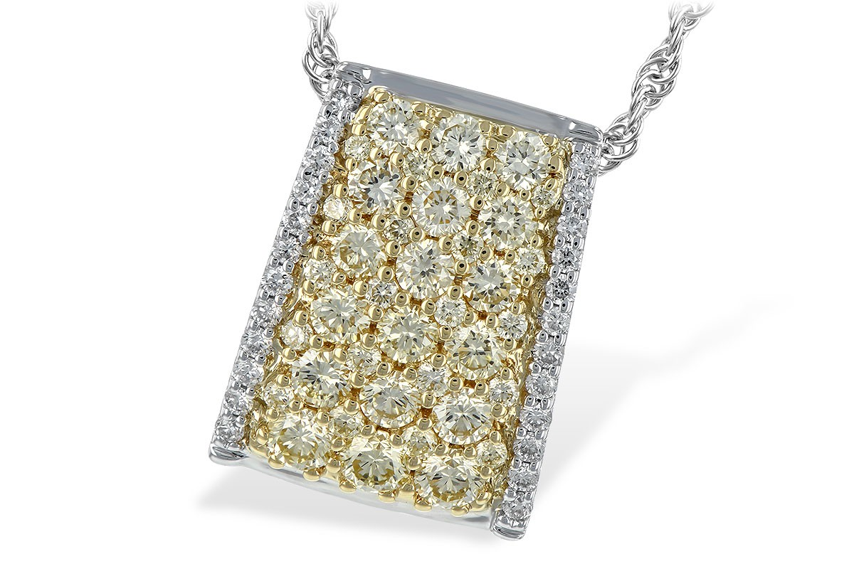 14K Two Tone 1.09CT TW Yellow and White Diamond Pendant