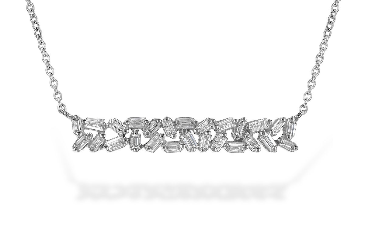 14K Yellow, White or Pink 0.24CT TW DiamondBaguette Bar Necklace