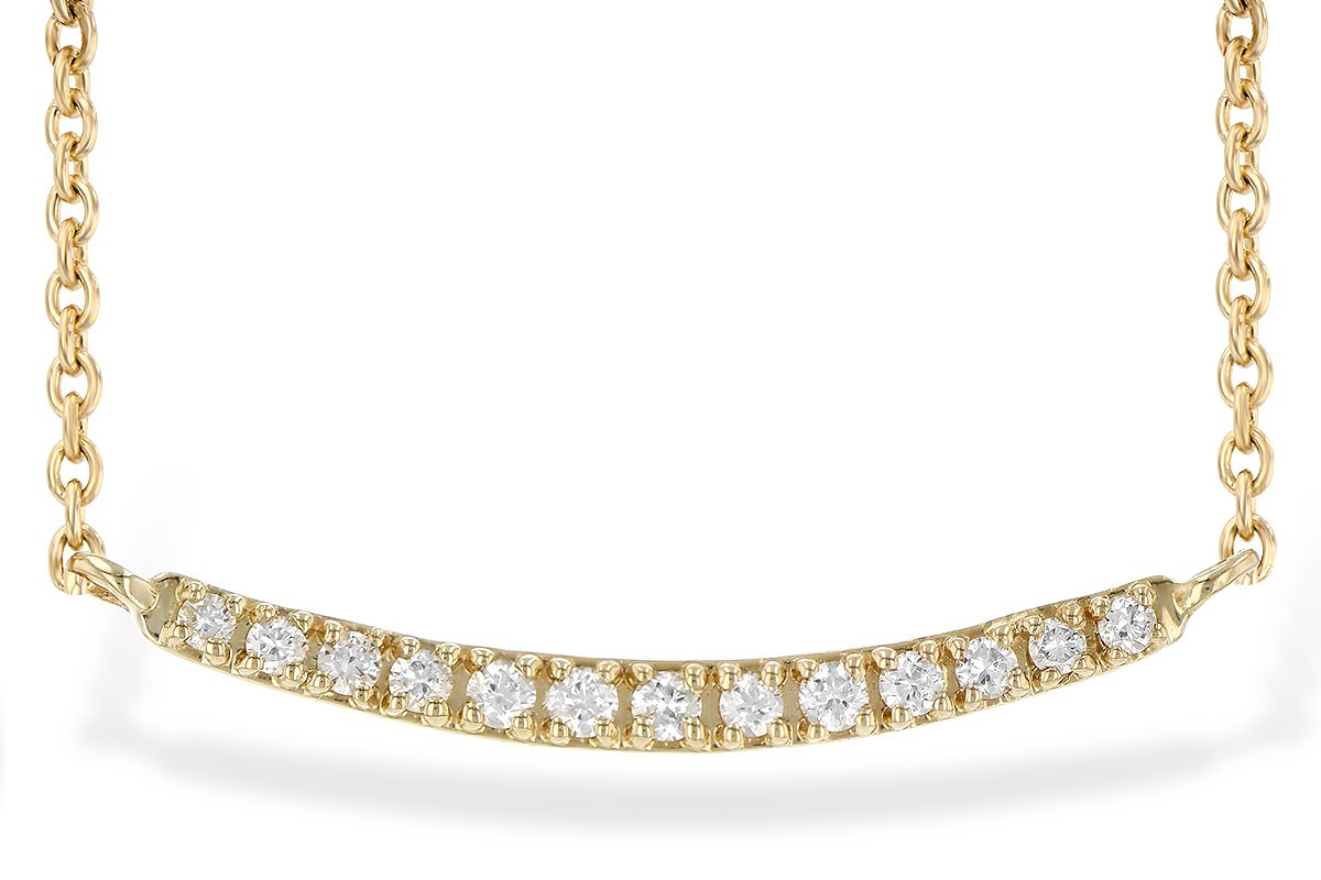 14KT Yellow, White or Pink Gold 0.10CT TW Prong Set Diamond Bar Necklace
