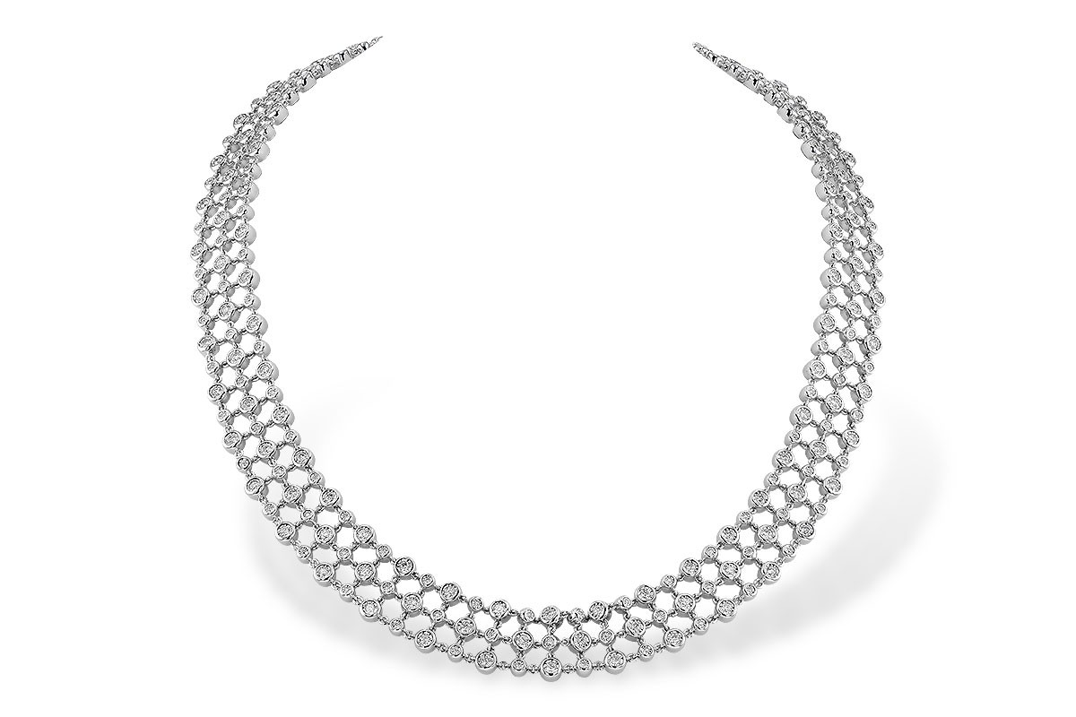 14K Yellow or White 4.50CT TW Diamond Multi Row Champagne Bubbles Tennis Necklace