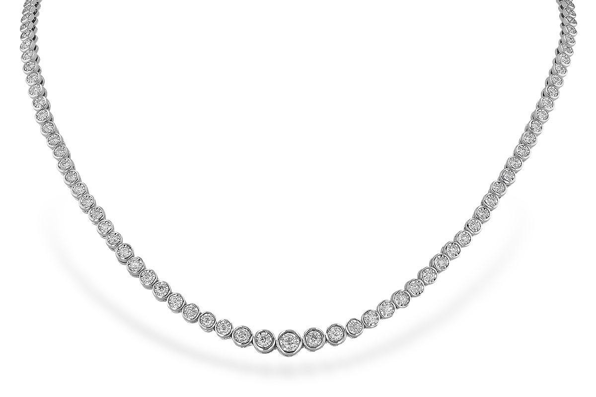14K White Gold 2.00CT TW Diamond Champagne Bubbles Single Row Tennis Necklace