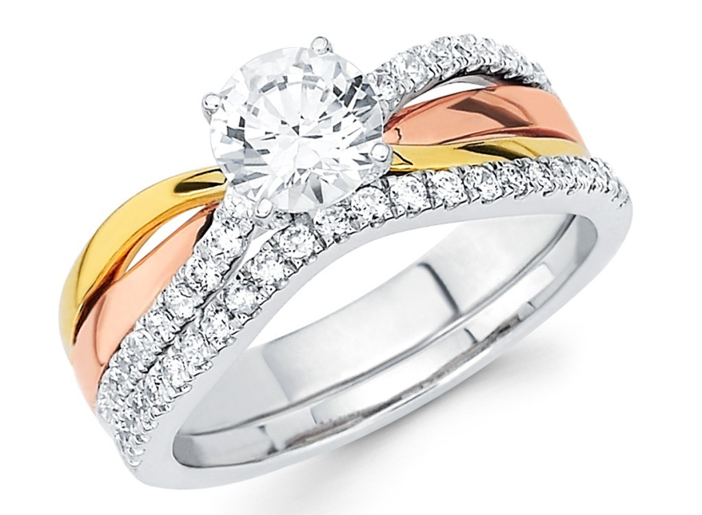 Tri-Color Engagement Ring