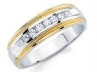 Two Tone Men's Diamond Band