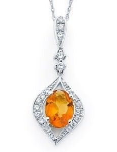 Diamond & Oval Citrine Pendant