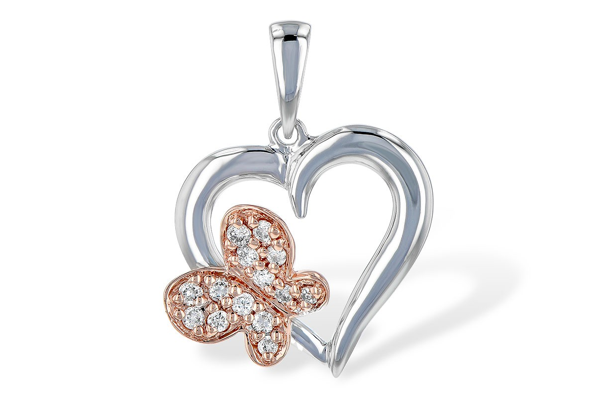14K White and Rose Gold 0.08CT TW Diamond Heart and Butterfly Pendant