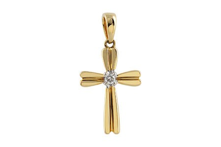 14K Yellow or White 0.03CT TW Diamond Cross Pendant