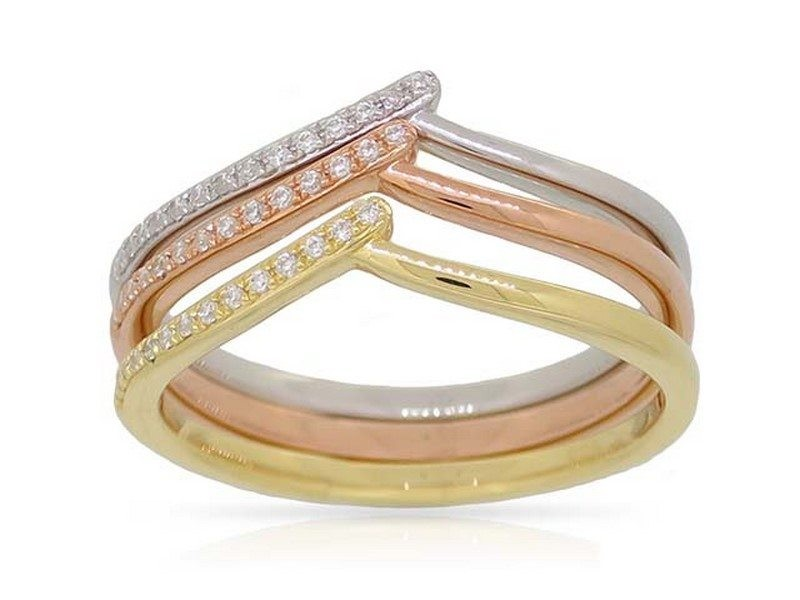 14K Tri Color Gold & Diamond Stacking Rings