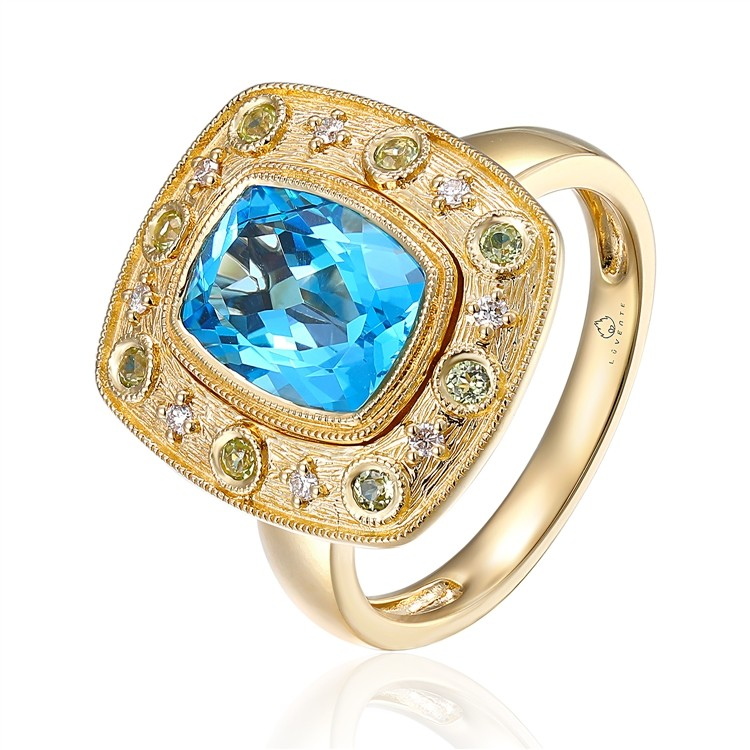 14K Yellow Gold Bezel Blue Topaz and Diamond Ring with Milgrain Bezel Set 2.89CT Blue Topaz with Prong and Bezel Set Diamonds in Brushed Yellow Gold on A Polished Yellow Gold Band