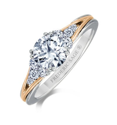 WHITE AND ROSE GOLD DIAMOND ENGAGEMENT RING WITH SIDE DIAMONDS