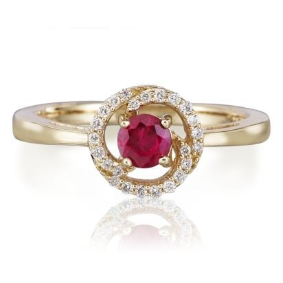 Ruby & Diamond Swirl Ring