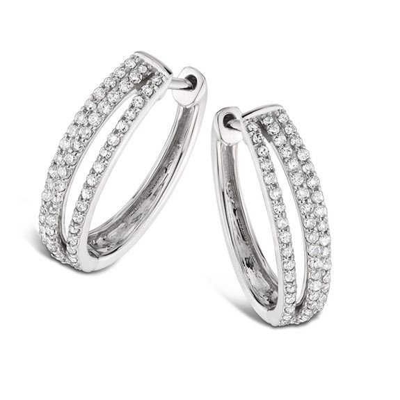 Triple Oval Diamond Hoop Earrings
