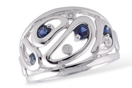 Ladies 0.43CT TW Sapphire and Diamond Ring With 0.40CT TW in Sapphire