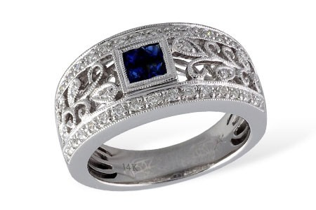 14K White Gold Ladies 0.49CT TW  Sapphire and Diamond Wedding Ring With 0.24CT TW in Sapphires