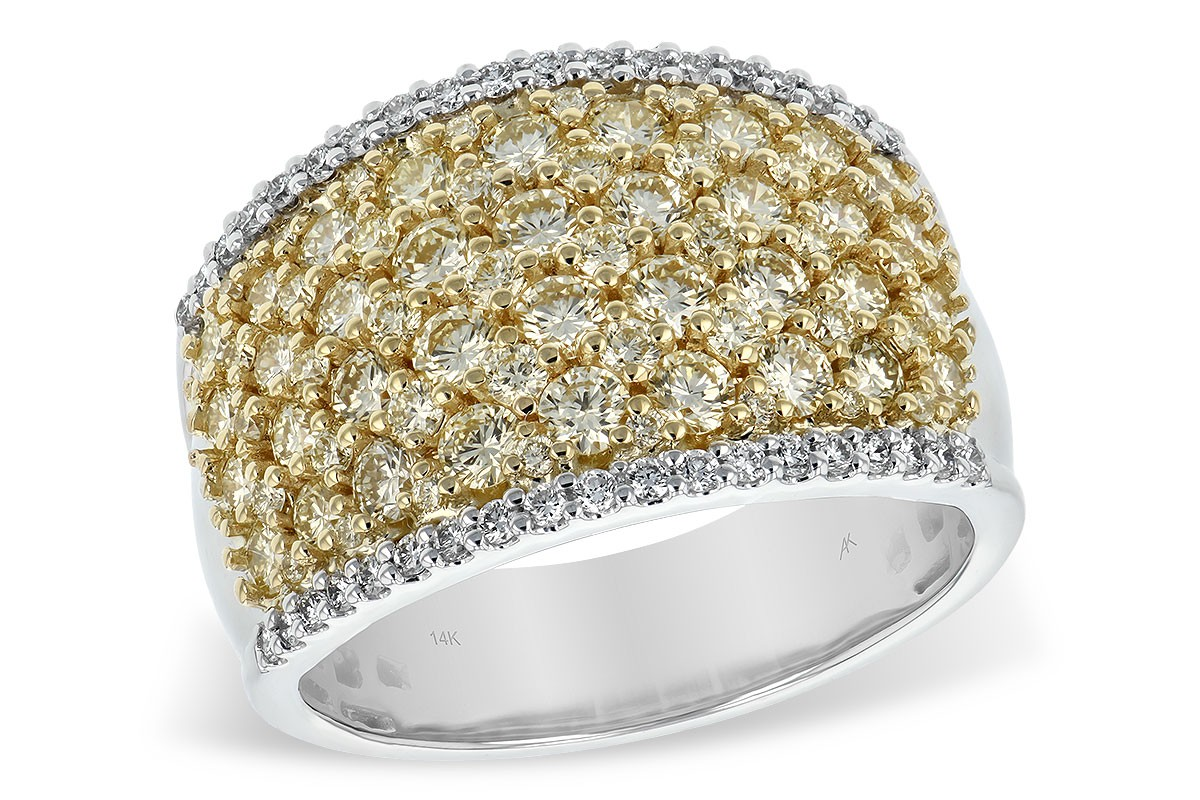 14K Two Tone 2.02CT TW Yellow and White Diamond Wide Band Ring