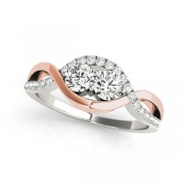 Two Stone Diamond Ring in White & Rose Gold