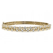 14K Yellow, White or Pink Gold 0.50CT TW Diamond Champagne Bubbles Two Row Bangle Bracelet