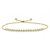 14K Yellow, White or Pink 0.52CT TW Diamond Champagne Bubbles Single Bolo Slide Bracelet
