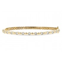 14K Yellow, White, or Pink Gold 0.25CT TW Diamond Champagne Bubbles Sinlge Row Bangle Bracelet