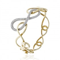 14K Two Tone  0.96CT TW Diamond Infinity Bracelet with Hinge and Safety