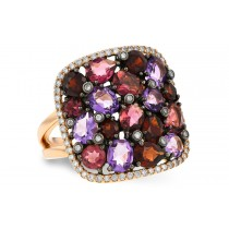 Ladies Rose Gold 3.03CT TW Amethyst, Garnet, Pink Tourmaline and Diamond Ring