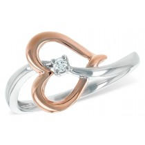 14K White and Rose 0.03CT Diamond Heart Ring