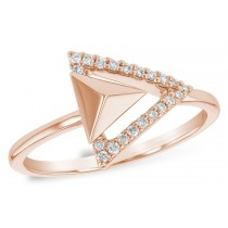 14KT Yellow, White or Pink Double 0.11CT TW Diamond Triangle Ring