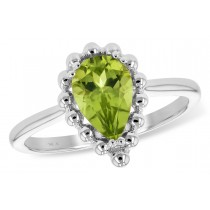 14K Yellow or White 1.30CT TW Peridot Pear Shaped Ring