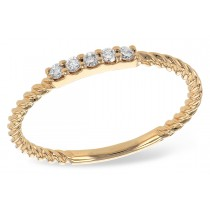 14K Yellow, White or Rose Gold 0.10CT TW Diamond Rope Band Ring