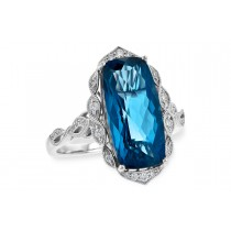 14K Yellow, White or Pink 6.90CT TW London Blue Topaz and Diamond Ring